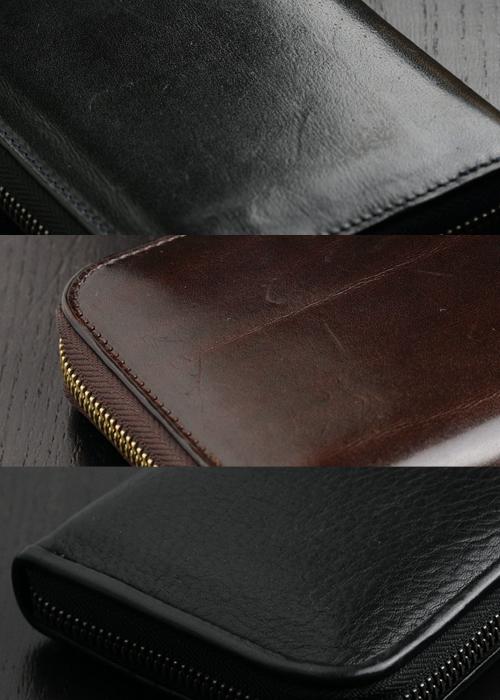 Alt81ラウンド長財布3型比較/傷の目立ち具合