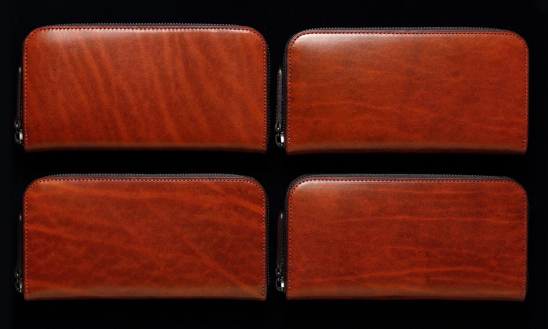 ラウンドファスナー長財布オレンジの 表情比較