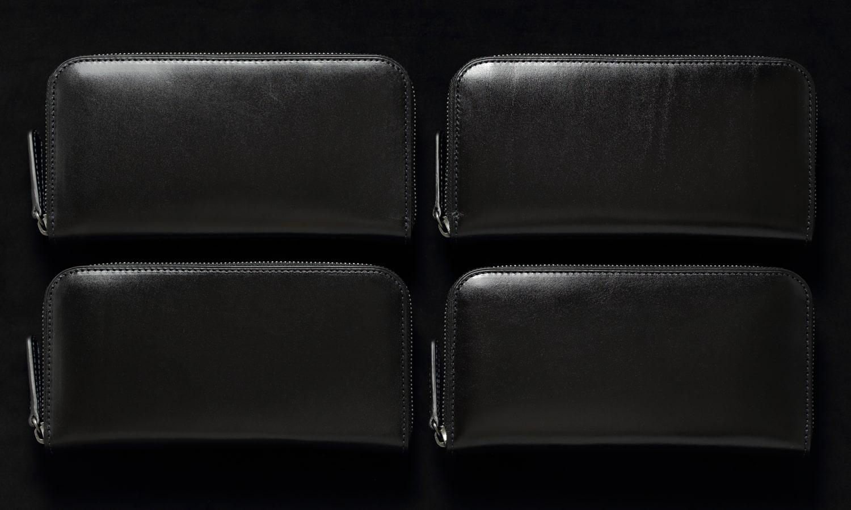 ラウンドファスナー長財布ブラックの 表情比較