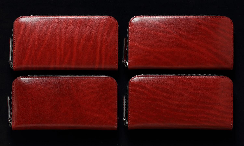 ラウンドファスナー長財布レッドの 表情比較