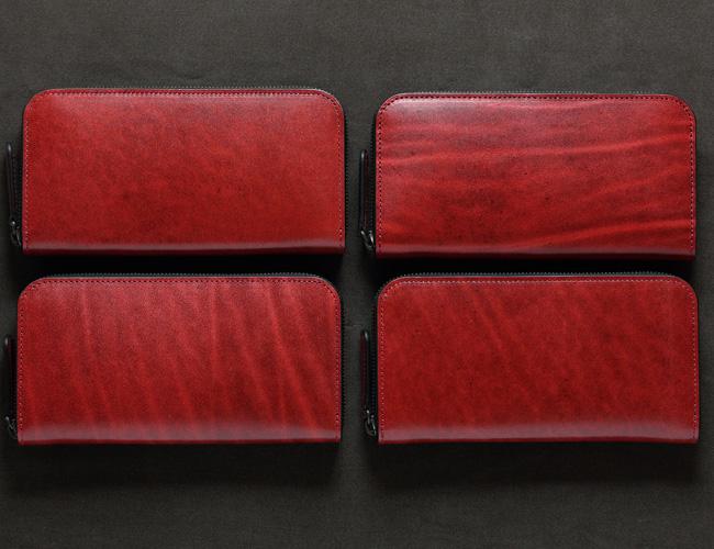 ラウンドファスナー長財布レッドの表情の比較